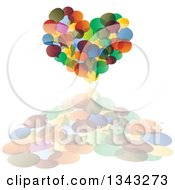 Clipart Of A Heart Made Of Colorful Speech Balloons And A Reflection Royalty Free Vector Illustration