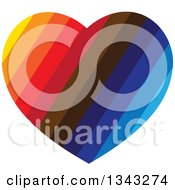 Clipart Of A Colorful Striped Heart Royalty Free Vector Illustration