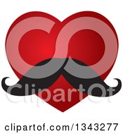 Clipart Of A Red Heart With A Mustache Royalty Free Vector Illustration