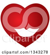 Clipart Of A Red Heart With White Lips Royalty Free Vector Illustration by ColorMagic