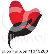 Clipart Of A Black Feminine Hand Holding A Red Heart Royalty Free Vector Illustration
