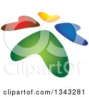 Clipart Of A Slanted Circle Of Colorful Hearts Royalty Free Vector Illustration