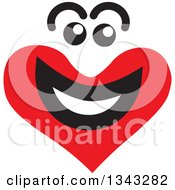 Clipart Of A Red Heart Character Smiling 9 Royalty Free Vector Illustration