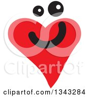 Clipart Of A Red Heart Character Smiling 2 Royalty Free Vector Illustration by ColorMagic
