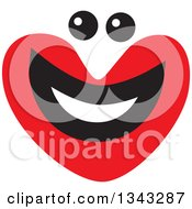 Clipart Of A Red Heart Character Smiling 5 Royalty Free Vector Illustration