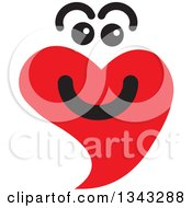 Clipart Of A Red Heart Character Smiling 6 Royalty Free Vector Illustration