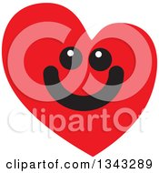 Clipart Of A Red Heart Character Smiling 7 Royalty Free Vector Illustration