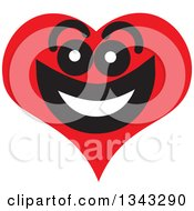 Clipart Of A Red Heart Character Smiling 8 Royalty Free Vector Illustration