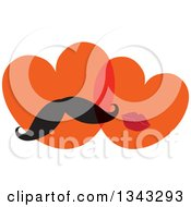 Clipart Of A Heart Couple With A Mustache And Lips Royalty Free Vector Illustration