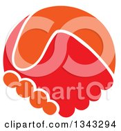 Clipart Of Orange And Red Hands Shaking Royalty Free Vector Illustration
