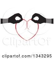 Clipart Of Black Silhouetted Feminine Hands Holding Together A Red Heart Royalty Free Vector Illustration