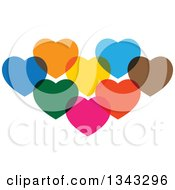 Clipart Of Cluster Of Colorful Overlapping Hearts Royalty Free Vector Illustration