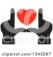 Clipart Of Black Male Hands Framing A Red Heart Royalty Free Vector Illustration