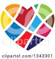 Clipart Of A Colorful Heart With White Lines Royalty Free Vector Illustration