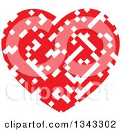 Clipart Of A Pixelated White And Red Heart Royalty Free Vector Illustration