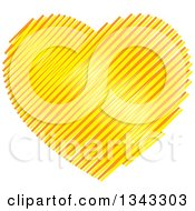 Clipart Of A Yellow And Orange Scribble Heart Royalty Free Vector Illustration