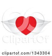 Clipart Of A Red Heart Over Gray Lips Royalty Free Vector Illustration