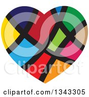 Clipart Of A Colorful Heart With Black Lines Royalty Free Vector Illustration