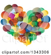 Clipart Of A Heart Made Of Colorful Speech Balloons Royalty Free Vector Illustration