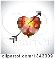 Clipart Of A Heart And Cupids Arrow Made Of Dots Over Shading Royalty Free Vector Illustration
