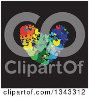 Clipart Of A Heart Made Of Colorful Ones On Black Royalty Free Vector Illustration