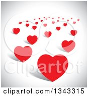 Clipart Of Scattered Red Hearts Over Shading Royalty Free Vector Illustration