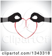 Clipart Of Black Silhouetted Feminine Hands Holding Together A Red Heart Over Shading Royalty Free Vector Illustration