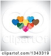 Clipart Of Cluster Of Colorful Overlapping Hearts Over Shading Royalty Free Vector Illustration