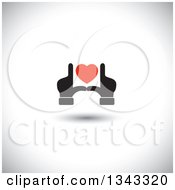 Clipart Of Black Male Hands Framing A Red Heart Over Shading Royalty Free Vector Illustration