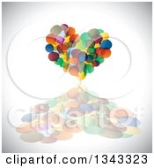 Clipart Of A Heart Made Of Colorful Speech Balloons And A Reflection Over Shading Royalty Free Vector Illustration