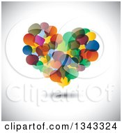 Clipart Of A Heart Made Of Colorful Speech Balloons Over Shading Royalty Free Vector Illustration