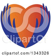 Clipart Of Blue Feminine Hands Holding A Gradient Heart Royalty Free Vector Illustration