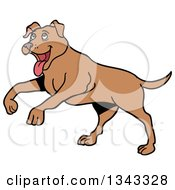 Cartoon Happy Brown Pitbull Dog Playing