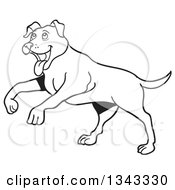 Lineart Clipart Of A Cartoon Black And White Happy Pitbull Dog Playing Royalty Free Outline Vector Illustration by LaffToon