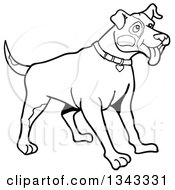 Lineart Clipart Of A Cartoon Black And White Pitbull Dog With Patches On His Face Standing And Panting Facing Right Royalty Free Outline Vector Illustration