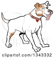 Cartoon White And Tan Pitbull Dog With Patches On His Face Standing And Panting Facing Right