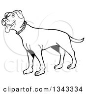 Lineart Clipart Of A Cartoon Black And White Pitbull Dog Standing And Panting Facing Left Royalty Free Outline Vector Illustration by LaffToon