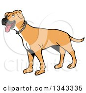 Cartoon Tan Pitbull Dog Standing And Panting Facing Left