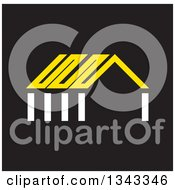 Clipart Of A White And Yellow House On Black Royalty Free Vector Illustration by ColorMagic