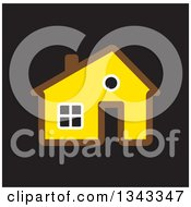 Clipart Of A Brown And Yellow House Over Black Royalty Free Vector Illustration by ColorMagic