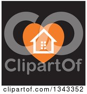 Clipart Of A White House In An Orange Heart Over Black Royalty Free Vector Illustration