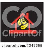 Clipart Of A Red House With Yellow Leaves Over Black Royalty Free Vector Illustration
