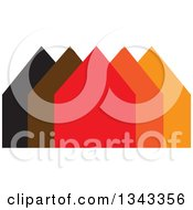 Clipart Of A Neighborhood Of Houses 4 Royalty Free Vector Illustration