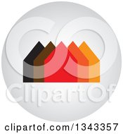 Clipart Of A Shaded Round App Icon Button Design Element With Houses Royalty Free Vector Illustration