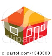 Clipart Of A House In Red And Orange Tones Royalty Free Vector Illustration