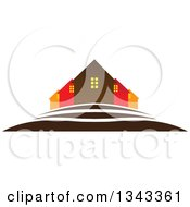 Clipart Of A Neighborhood Of Houses On A Hill Royalty Free Vector Illustration