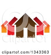 Clipart Of A Neighborhood Of Houses 2 Royalty Free Vector Illustration