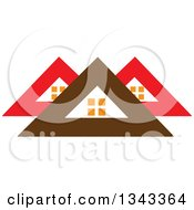 Clipart Of Red And Brown Roof Tops Royalty Free Vector Illustration