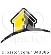 Clipart Of A Black White And Yellow House Royalty Free Vector Illustration