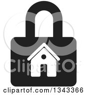 Clipart Of A Black And White House Padlock Royalty Free Vector Illustration